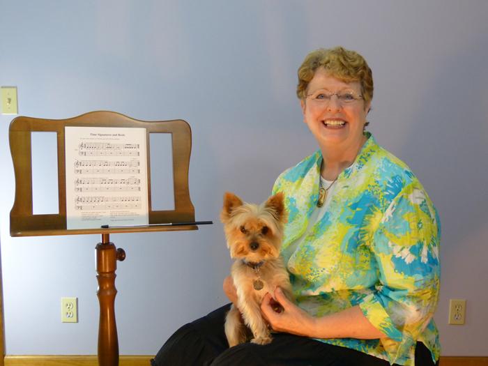 Darlene with her dog.